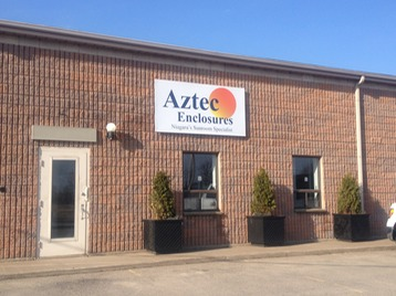 Aztec Enclosures store front at 28 Clark Street, Welland